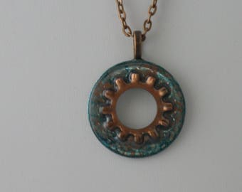 Turquoise & Copper Washer Necklace