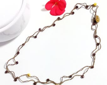 Necklace/Choker/bracelet in black and gilt bronze and glass beads with yellow/Bohemia glass necklace bracelet