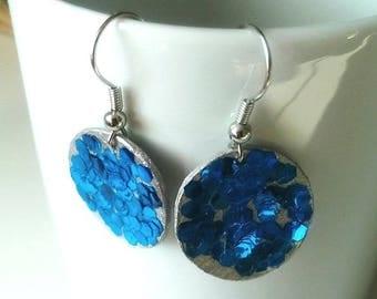 cornflower blue and silver glitter/earrings earrings