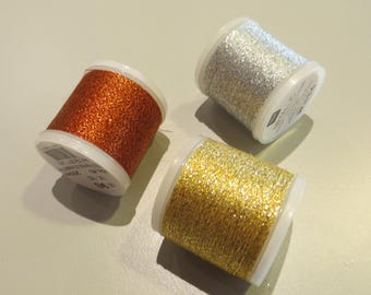 Embroidery FLOSS Metallic of Rico to choose: silver, gold or copper