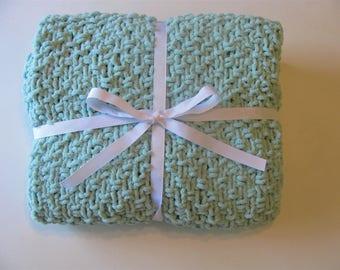 Mint Knit Baby Blanket