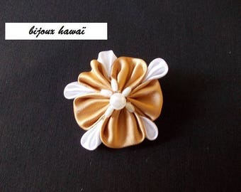 Caramel and white satin hair clip