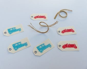 6 label tag with car old and string 6 X 3 cm