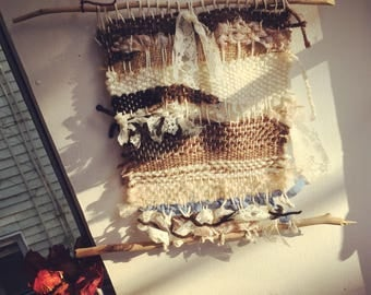 Locally sourced wool and vintage fabric textile wall hanging