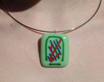 """Garden Party"" pendant in fused glass, unique creation"