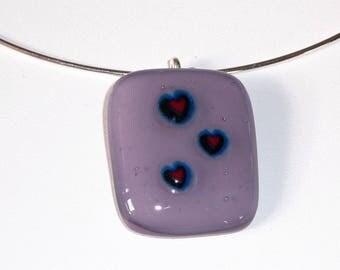 """Amor-amor"" fused glass necklace"