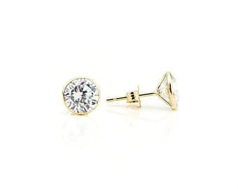 14K Yellow Gold Handmade Stud Earrings With 6 MM Round Cubic Zirconia 2.90 Carats