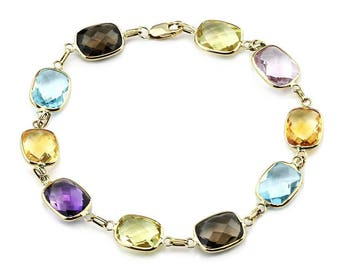 14K Yellow Gold Link Bracelet With Multi Colored Cushion Cut Gemstone Stations