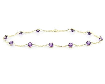 14k Yellow Gold Handmade Station Anklet with Round 4mm Amethysts By the Yard 9-11 Inches