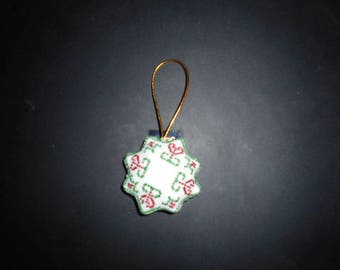 Embroidered canvas Christmas ornament - star