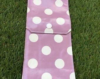 Case / pouch / clutch covered purple dots