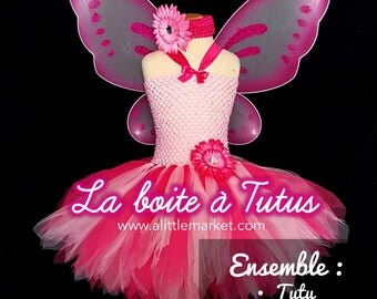 3 4 5 ☆ ☆ tutu dress with fairy girl pink & Fuchsia with wings ☆ Tulle Christmas costume