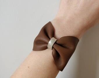 Dark brown leather cuff
