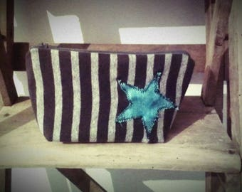 Case in grey and blue stripes