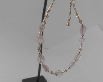 Bracelet made of irregular translucent Amethyst 8 x 6 mm