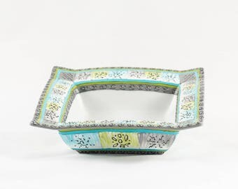 Square porcelain dish hand painted ombre green blue grey white colors