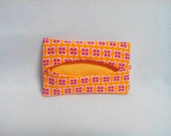 Tissue holder yellow flowers with purple and white