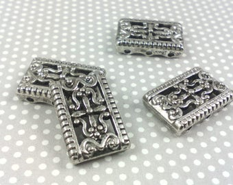 Set of 3 connectors 3 rows louse bracelets ☆ / silver / nickel / 12 * 0 * 4 mm☆