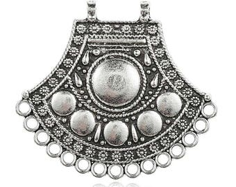 Candlestick, ethnic pendant, fan shape, antique silver, 40 x 44.5 x 2, 2 mm hole and 15 1.8 mm hole / ethnic/Bohemian