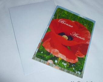 Double happy new year card poppy 10.5x15cm made starting from photographs
