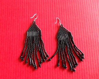 black seed beads earrings
