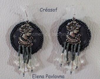 "Earrings silver, fabric, metal and Crystal ""Elena Pavlovna"""