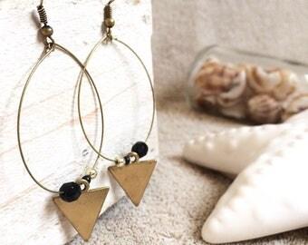 Black and gold geometric earrings