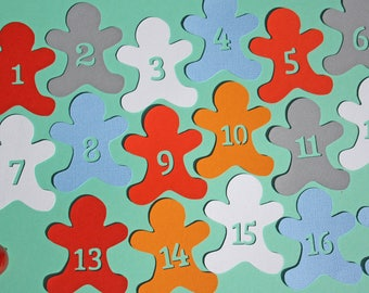 24 figures for advent calendar paper man spice colors