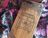 Hippie VW Bus bamboo wood iPhone case for iPhone 6, iPhone 6s, iPhone 6 plus, iPhone 7, iPhone 7 plus, iPhone 8, iPhone 8 plus, iPhone X