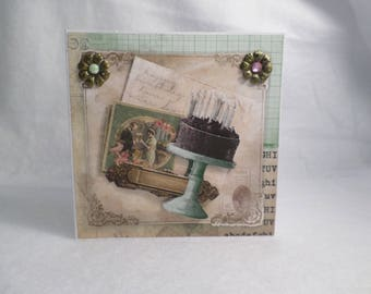 Vintage birthday cake card