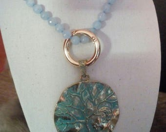 Adjustable necklace with blue Calcite pendant necklace
