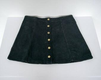 Black Vintage Corduroy Skirt