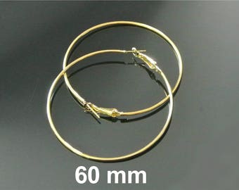 Large gold hoop earrings 60 mm