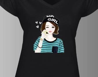 Teen GIRL V-neck tshirt
