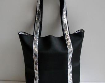 Glitter tote bag handmade faux leather matte black fashion women @lacouturebytitia black