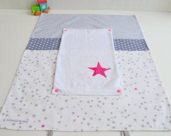 Cover changing mat sponge white stars hand made grey and fuchsia @lacouturebytitia