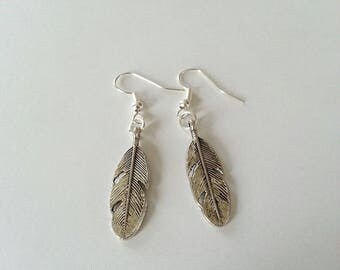 Feather earrings, feather earrings