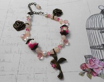 Bracelet pink Crystal, brass, flower, bird, nylon thread