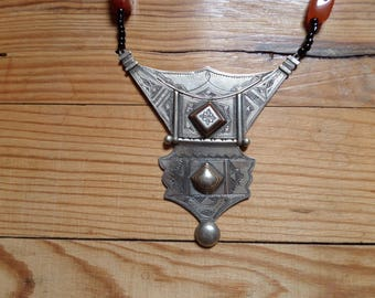 Tuareg silver necklace / agate - Niger