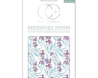 Paper patch (3 sheets) purple Iris - CCDECP0150