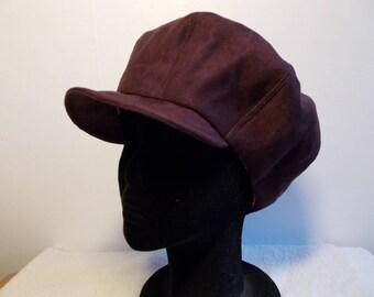 Plum suede newsboy style cap