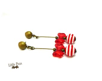 Earrings red Christmas bow vintage