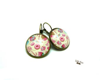 Candies glass dome earrings retro vintage