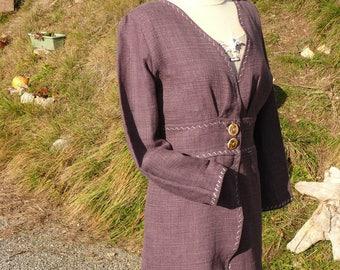 Stylish linen (100%) long jacket purple