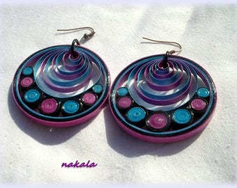 unique varnished paper round earrings