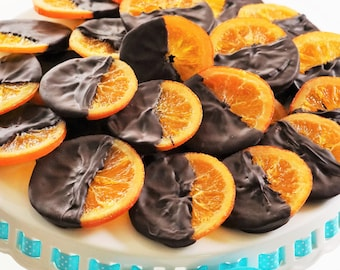 Candied Orange dipped in dark chocolate