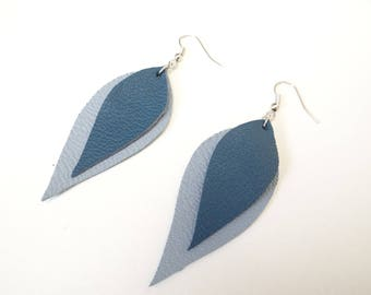 Blue leather leaves earrings