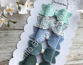 Hair bows, mint colour bows, hair accesories, small bows