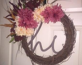Midsummer Night's Dream Wreath.  Grapevine Wreath.  Artificial Flower Wreath.  Mauve Wreath.  Front Door Wreath.  Hi Wreath.
