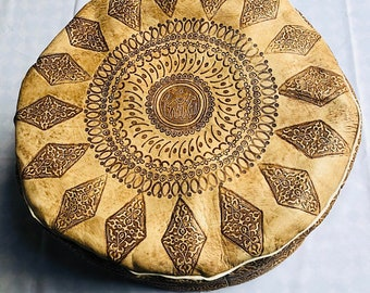 Best selling 50% OFF Pouf Sale//Tan Moroccan Leather Pouf with Tassels & Pompoms, Tabouret Moroccan Leather Pouf/Ottoman